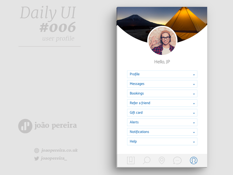 Daily Ui 006 profile image user profile ui dailyui app ux branding vector flat design