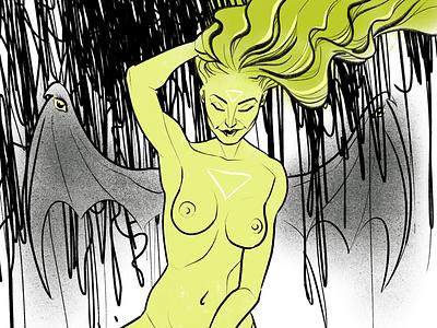Old Gods hair mythology woman wings procreate digital ink drawing figure