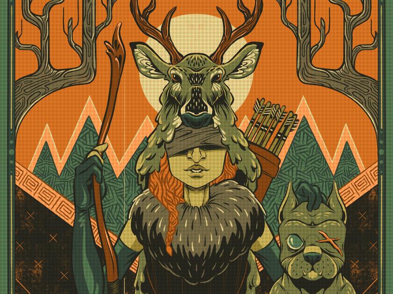 The Archer and Hound lore forest dog hound hunter huntress archery archer digital procreate arcana strange symbolism mythology lowbrow drawing black and white ink illustration