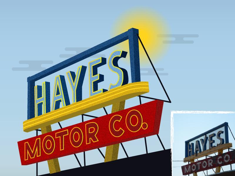 Hayes Motor Company car dealership signs vintage sign old sign