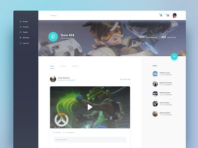 Desktop Version of Social Gaming App post stats share gaming app social feed ux ui dashboard