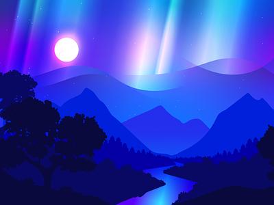 Aurora nature river landscape neon color light aurora illustration night blue