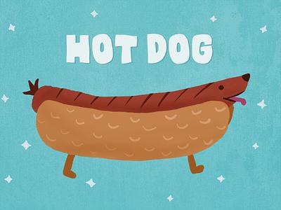 Hot Dog food blue illustration hot dog dog dachshund