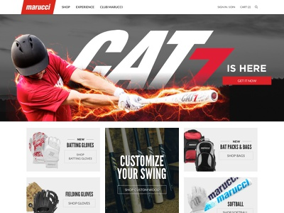 Homepage red web design athlete sports ecommerce homepage