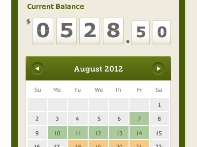 Balance and Calendar balance calendar sidebar flip price count counter green beige