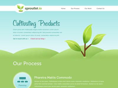 Sproutlet web design website green plant sky blue script sprout sproutlet