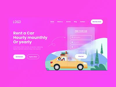 Rent Car Landingpage graphic design ui
