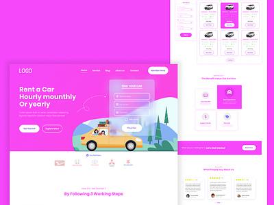 Rent Car - Landingpage graphic design ui