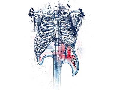 SKULL GUITAR viveksundaramdesignstudio artistic music artwork music art guitarist guitar skull design illustration tshirt design print
