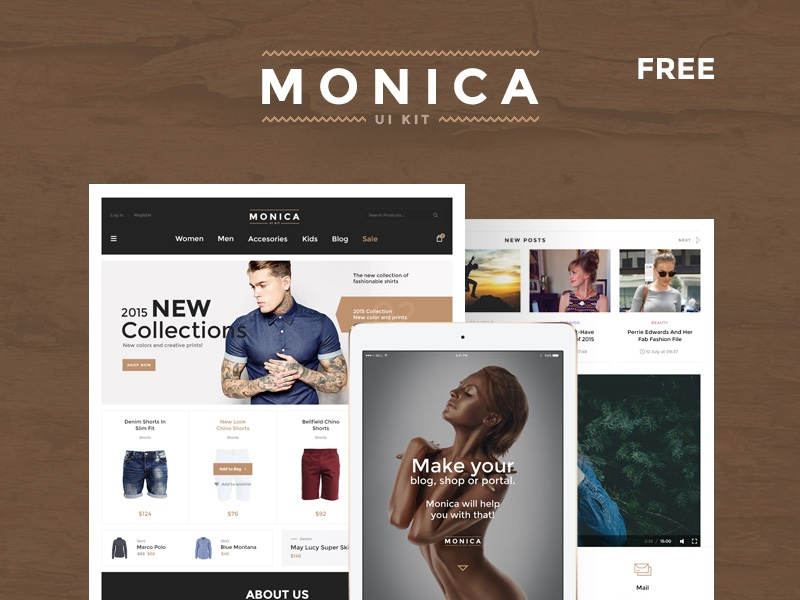 Monica UI Kit free Sample creative web design sample free kit ui