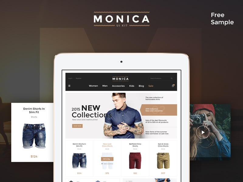 Monica UI Kit - Free Sample monica creative sample psd free kit ui