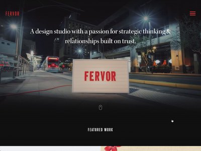 Fervor Creative Agency Website interaction hamburger menu css uiux uianimation animation web design