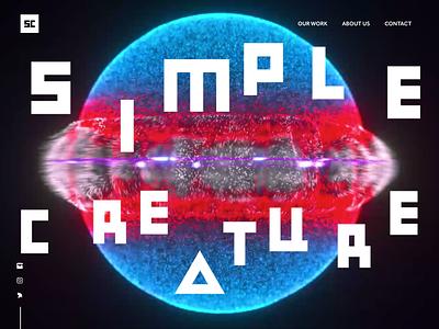 Simple Creature Header uianimation gsap particles circle c4d