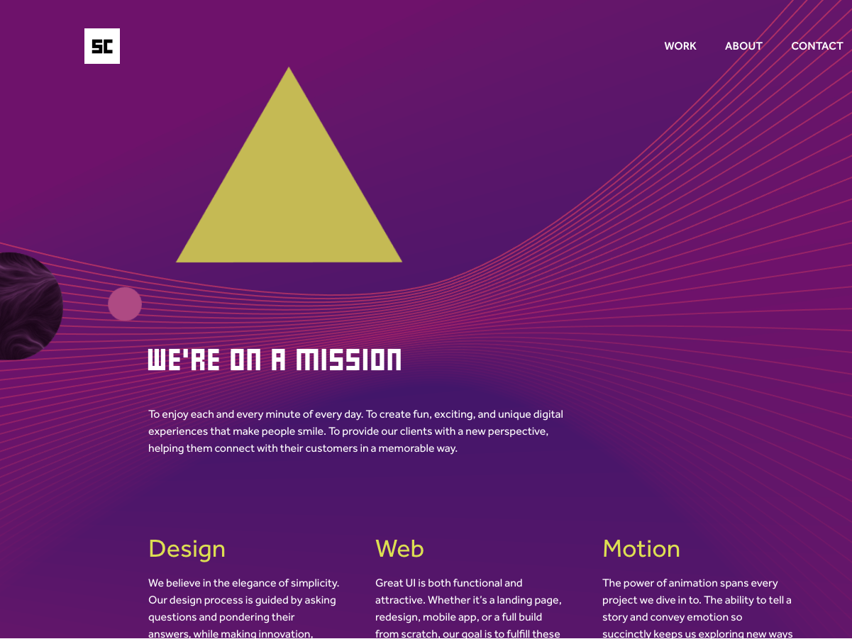 On a Mission interactive uianimation webdesign gsap two.js