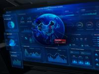 New Retail Big Data Temporal Perception Big Screen web screen 3d earth design data visualization monitoring chart dashboard