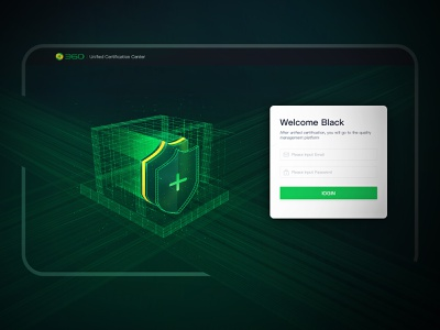 System Unified Certification Center Design abstract green technology login web design dashboard