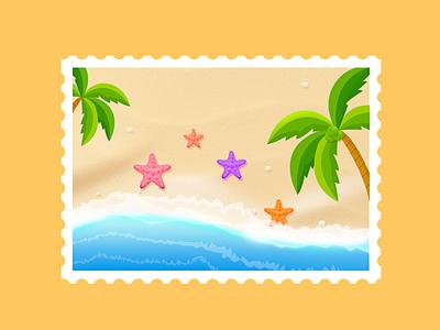 Starfish and beach