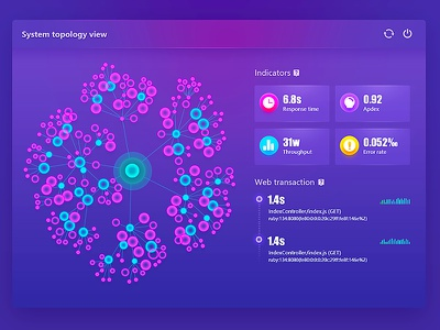 System topology node icon admin purple gradient user interface system popover visualization data big dashboard topology
