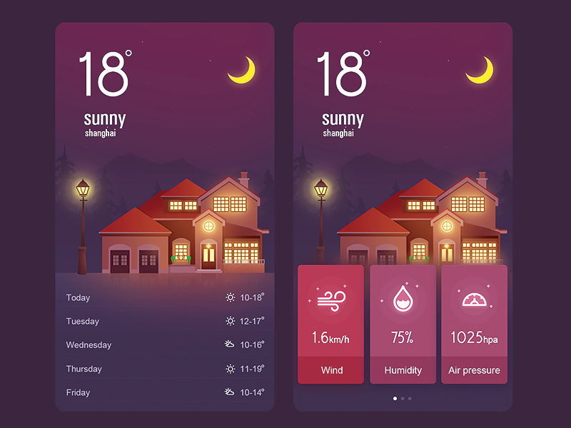 The weather App UI illustrations moon list dashboard building house flat temperature ui app weather