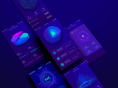 The APP UI design collection ui app earth 3d diagram histogram particle dashboard rotation rubiks scatter visualization