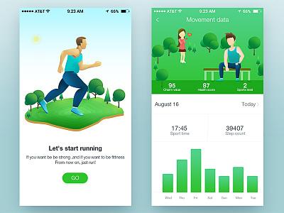 Sports interface design by Zoeyshen dashboard statistics histogram indicators visualization illustrations green running sports ui data app