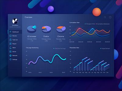 Dashboard design by Zoeyshen graph histogram monitoring 3d chart dashboard fui data visualization admin menu mobile web