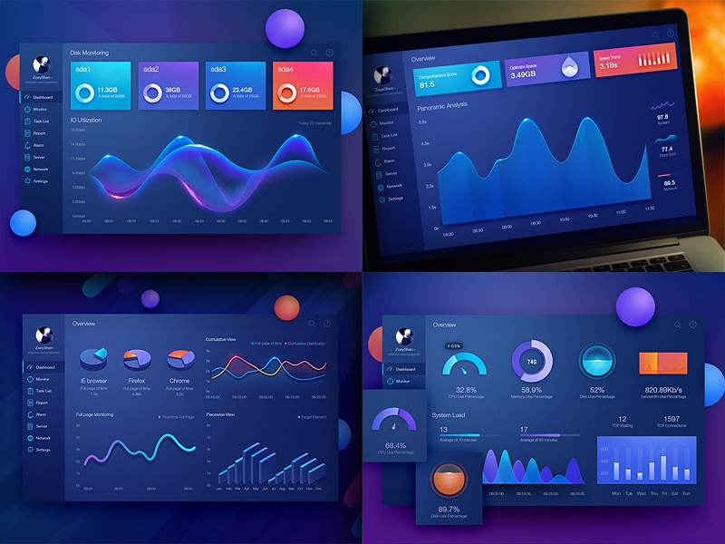 Data visualization projects graph histogram monitoring ui kits chart dashboard fui data visualization admin icon mobile web