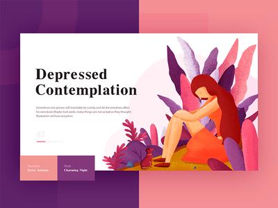 Illustration set <heart>—Depressed Contemplation