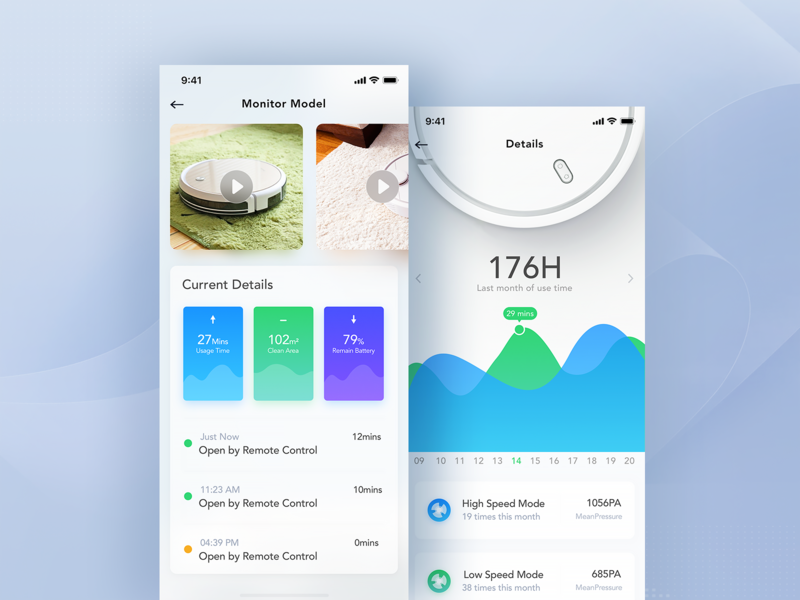 Smart Home Product Interface Design dashboard chart app ui mobile monitoring icon animation histogram data visualization graph admin design data visualization fui intelligent monitoring