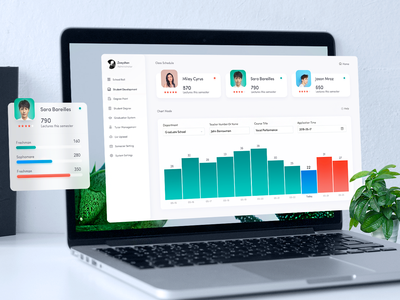 College Student Management System dashboard monitoring web chart icon data visualization statistical charts information charts data charts management systems bar charts graph histogram admin fluent design design illustrations data