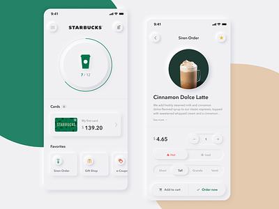 Starbucks App Neumorphism Concept design iphone coffee cart coupon starbucks green gradation card app mobile ux ui neumorphism