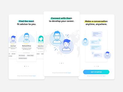 Bridgeme Onboarding app blue gradation chat search connect tutorial ui mobile walkthrough onboarding
