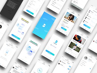 Bridge Me All counseling design mobile ios mentor blue gradation app card profile ux ui