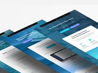 Landing Page layout grid ux ui cta homepage icons blue branding website landing page