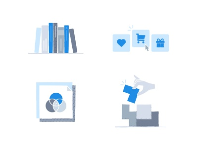 Illustration study gray blue tetris diagram color cart present wish shelf book illustration ridi