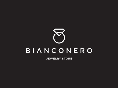 BiancoNero contrast nero bianco romania pacakging retail blend minimal geometric ring diamond chain jewelry white black
