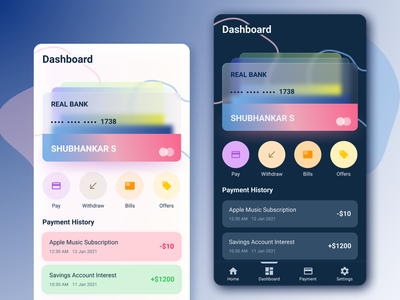 Payment Wallet App userinterface userexperience app glassmorphism credit card appdesign mobile ux ui