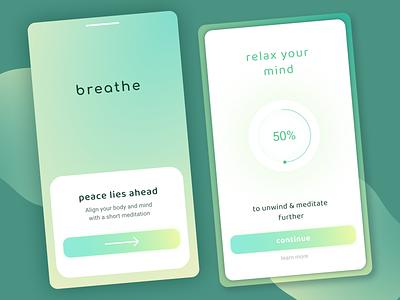 Meditation App green design gradient clean userinterface userexperience appdesign mobile app ux ui