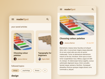 Blogging App design beige userinterface userexperience appdesign ux ui mobile app