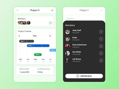 Project Management App tile timeline project glassmorphism design appdesign userinterface userexperience mobile app ux ui