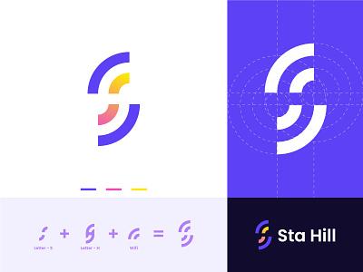Logo Design ( Letter S + Letter H + Wifi ) minimal modern logo logo folio logo design logo wordmark internet wifi letter h letter s h logo s logo s h meaningful logo startup creative logo brand icon brand identity branding