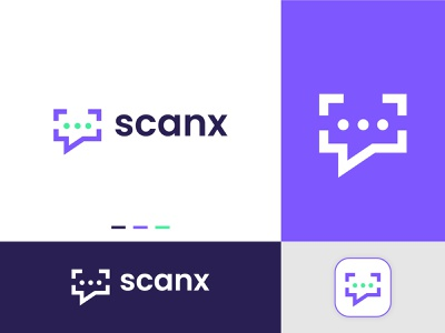 Chat + Scanner logo logo design modern logo technology sms chat logo chat scanner scan chatting chatbot conversation messenger message startup creative logo brand icon brand identity branding