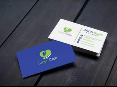 Business Card Design green care blue card branding