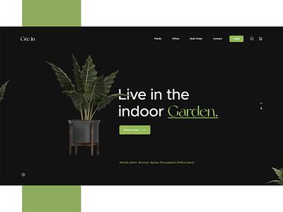 Gre in Plant Shop UI uiuxdesign creative agency design landing page design dark ui