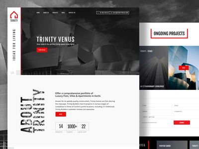 Trinity Home freelance designer creative agency landing page design white property new interiors interior elegant corporate construction building architecture architect modern