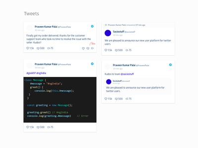 Tweets - Analytics Dashboard Element ui dashboad analytics