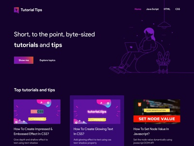 TutorialTips - Website dark mode website