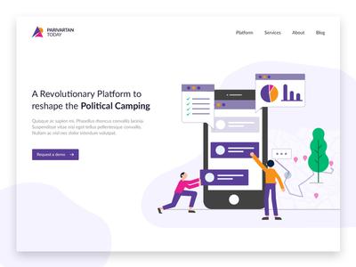 ParivartanToday - Landing Page political clean single page website design landing page
