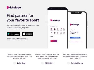 Kheloge - Landing Page landing page sport website