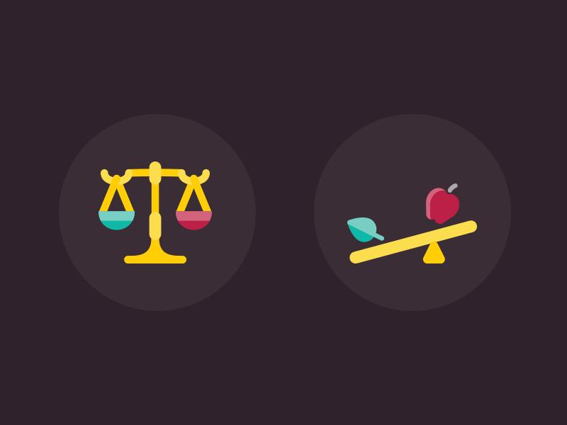 Levers icons leaf apple balance levers cartoon colorful flat illustration icons